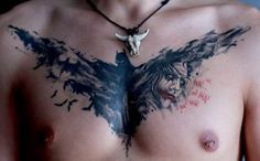 Chest Tattoo Batmen   #Tattoo, #Tattooed, #Tattoos