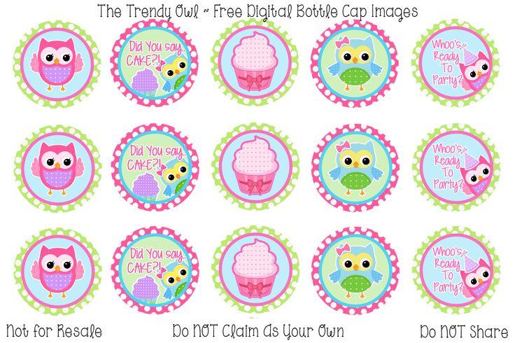 Birthday Owls <3 Retired images uploaded as freebies! Enjoy! ~ FREE Digital Bottle Cap Images!! https://www.facebook.com/thetrendyowlUS http://www.thetrendyowl.com