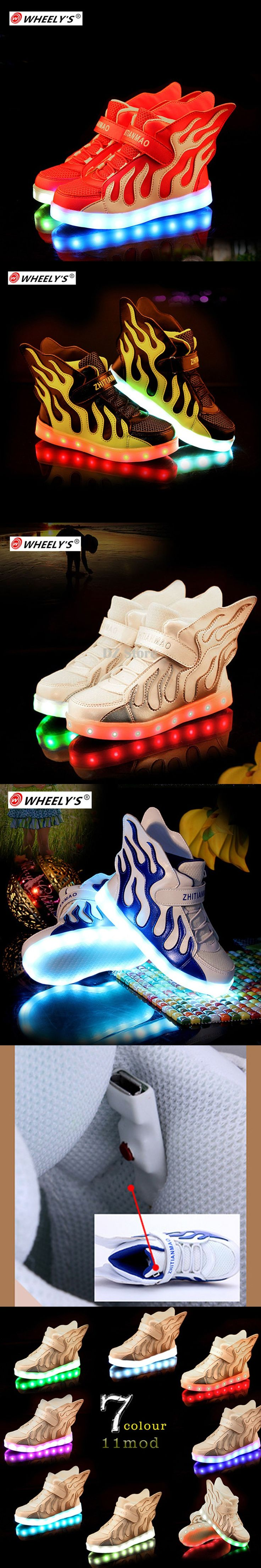 Kids Shoes with LED Lights Children Heelys Kids Sneakers with Wing Boys Girls Led Light Up Shoes chaussure enfant Tenis Infantil