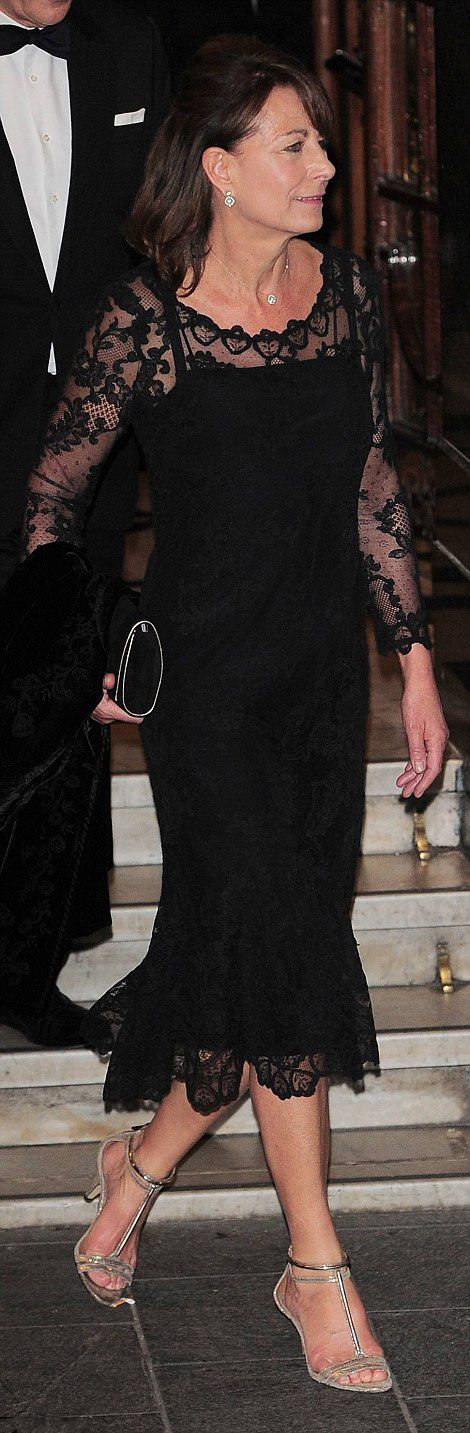 Carole Middleton worn a black lace dress to the Royal Variety Performance