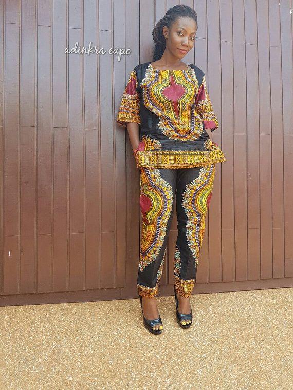 Dashiki Pant Set / Ankara Dress / African fashion / by AdinkraExpo