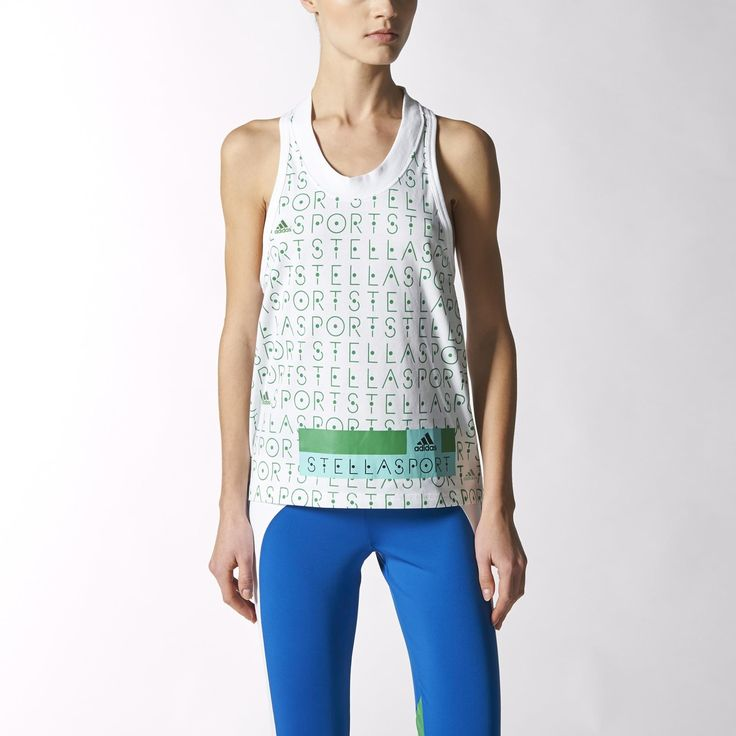 Style your workout with this eye-catching women's tank top. Designed in collaboration with Stella McCartney, this top makes a statement while training. Made of sweat-wicking climalite® fabric that keeps you dry, the relaxed-fit tank is cut with a longer back. It features a ribbed collar and a bold graphic print on the front with an adidas Stellasport logo that shows off your trendsetter taste.