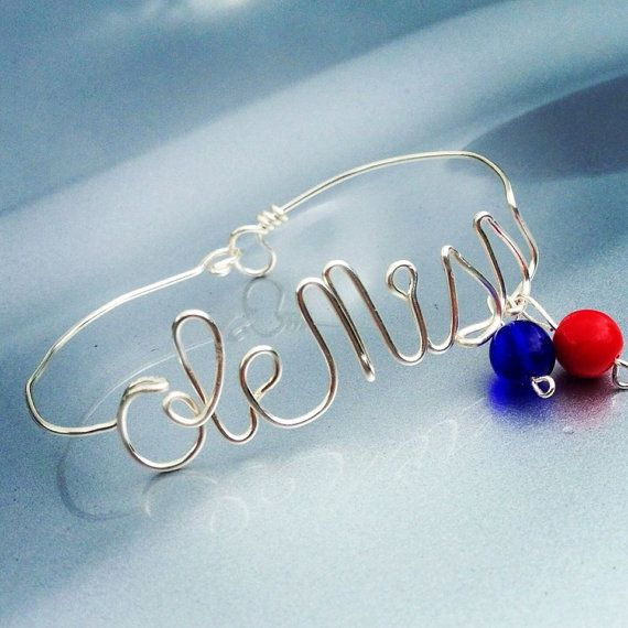 Wire Wrapped Ole Miss Bracelet by AmbersCrafts2 on Etsy, $14.00