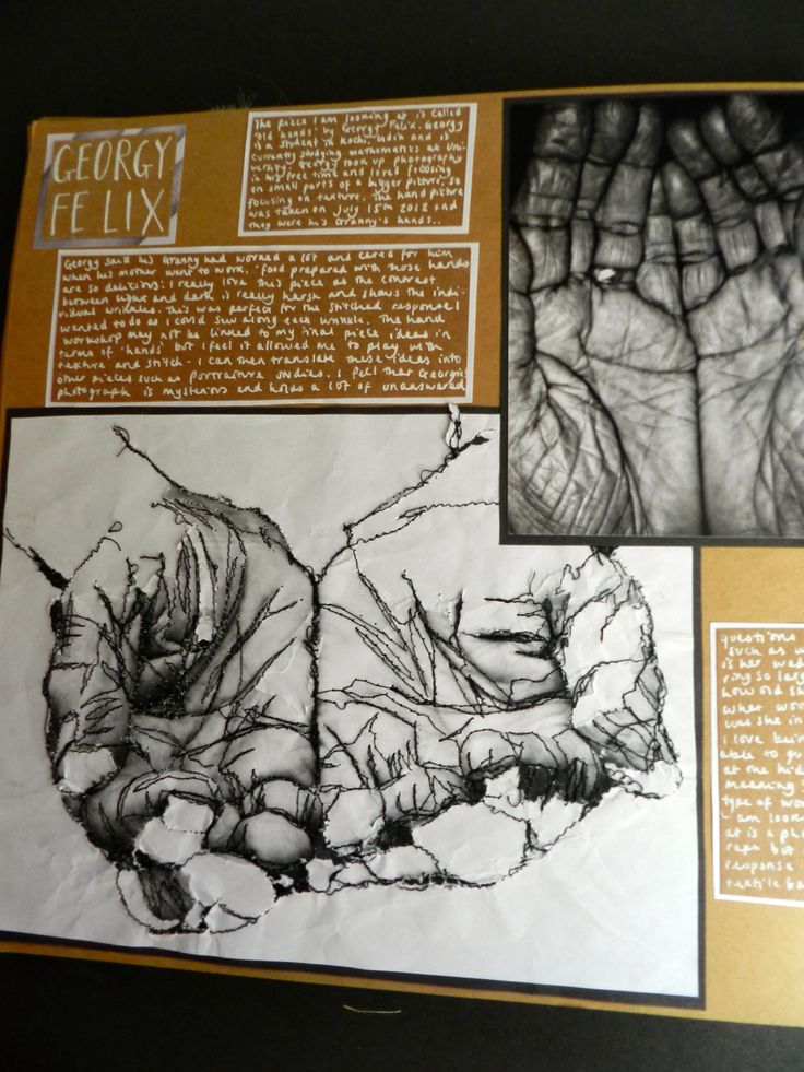 A2 level art response and example of sketchbook pages. By Sarah Lumley