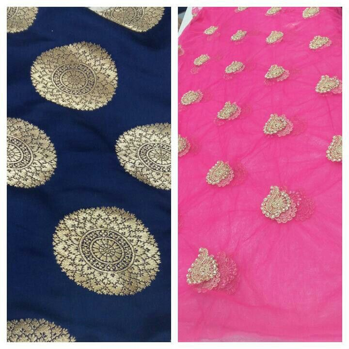 Brocade suit with net booti dupatta