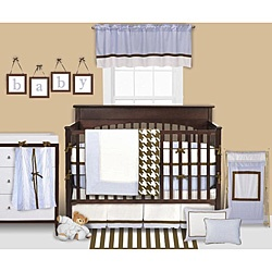 @Overstock - Rugby stripes in blue and chocolate makes this set perfect for a baby boy  Four-piece set comes with throw, bumper guard, crib skirt and crib sheet  Bacati Metro bedding is made with comfortable and washable cottonhttp://www.overstock.com/Baby/Bacati-Metro-Blue-4-piece-Crib-Bedding-Set/4075547/product.html?CID=214117 $107.99