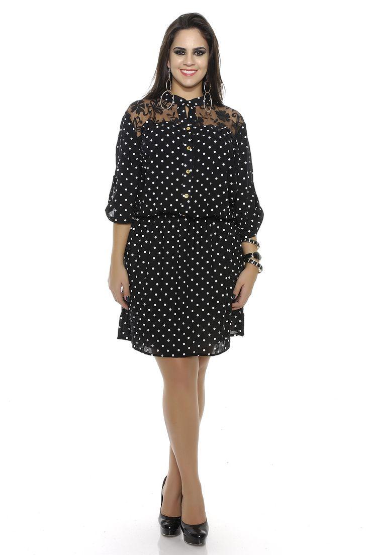 Vestido camisa estampa de bolinha e renda Plus Size - Chic e Elegante