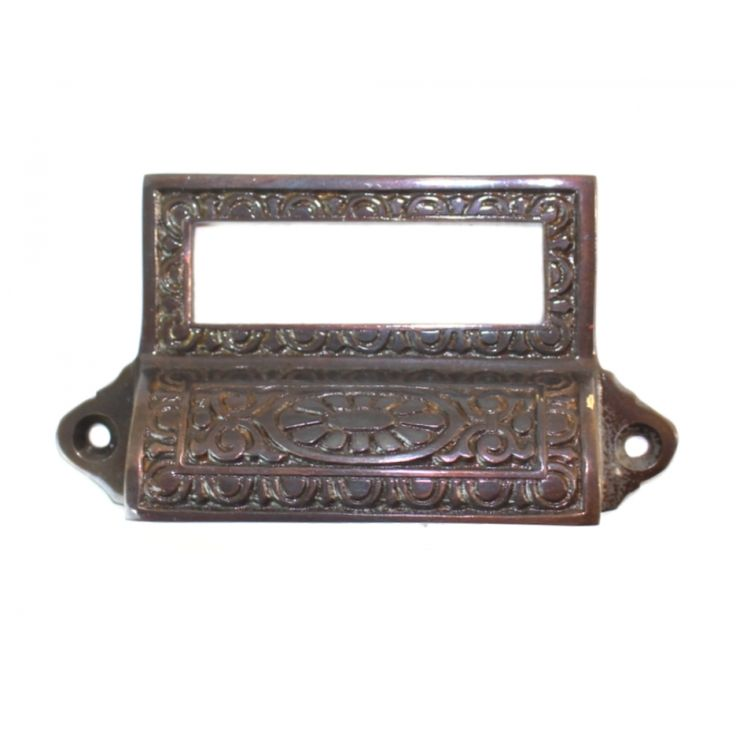 Bin Pull with Card Holder Victorian Aged BRONZE Solid ...