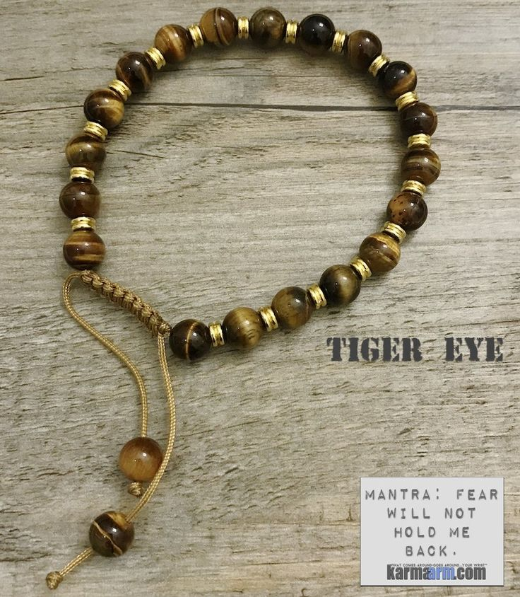 Bracelet | Mens Womens | beaded yoga mala charm. karma arm stacks. tiger eye.