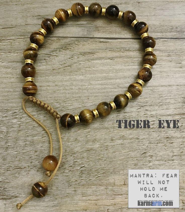 Bracelet | Mens Womens | beaded yoga mala charm. karma arm stacks. tiger eye.