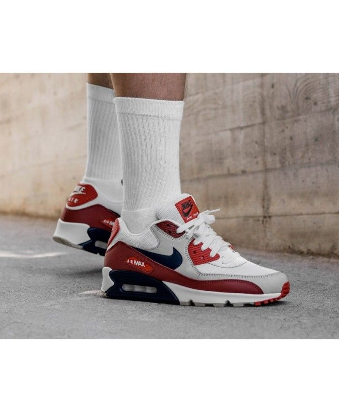premium selection 771a3 9cd5e Nike Air Max 90 Essential Mars Stone Obsidian Red Trainers Clearance