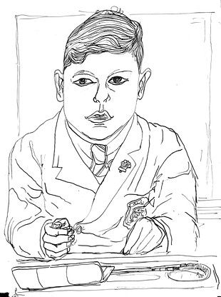 Alasdair Gray Young Boy and Paint Box 1951 33.50 x 25.70 cm Ink on Paper http://www.sorchadallas.com/works/1652/images