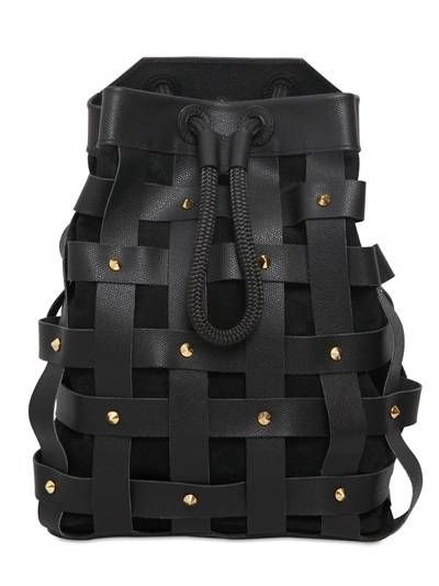 SALAR - JULES WOVEN LEATHER BACKPACK WITH STUDS - SALAR
