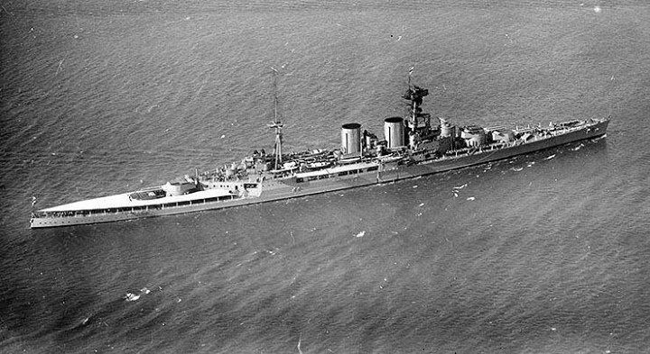 Aerial photo of HMS Hood circa 1924.