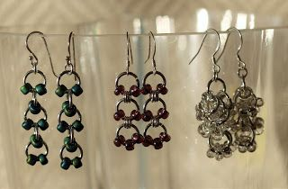 Earrings from jump rings and seed beads.