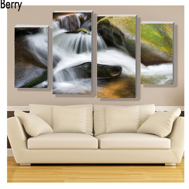 """==> [Free Shipping] Buy Best 4pcs Full Diamond Embroidery """"stone waterfall scenic""""5D Diamond Painting Cross Stitch 3D Diamond Mosaic wedding decoration Online with LOWEST Price 