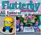 Flutterby Partiez - Pretoria, offers a party package which includes: A party pack and a cupcake for each child, tables, chairs, chair covers, table cloths, tie backs, centrepiece, plates, glasses (All according to YOUR THEME) Everything set up and collected.  Also has Pamper / Spa packages available.