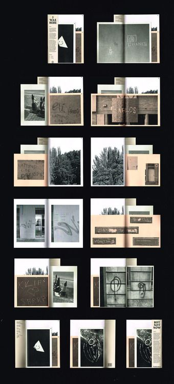 'I Was Here' is a photographic archive of graffiti and street notations. It consists of a series of different sized boklets, printed on different coloured paper stocks.