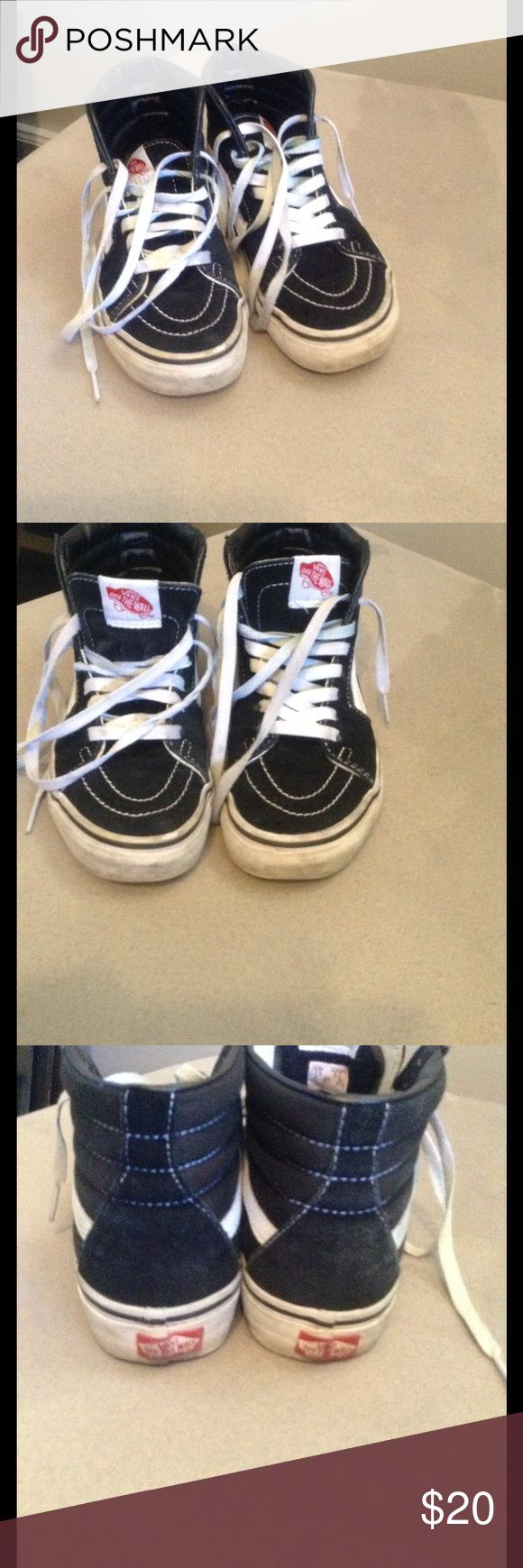 Vans sneakers black white high top size 5 Worn, see all pics. Size 5 woman's Vans Shoes Sneakers