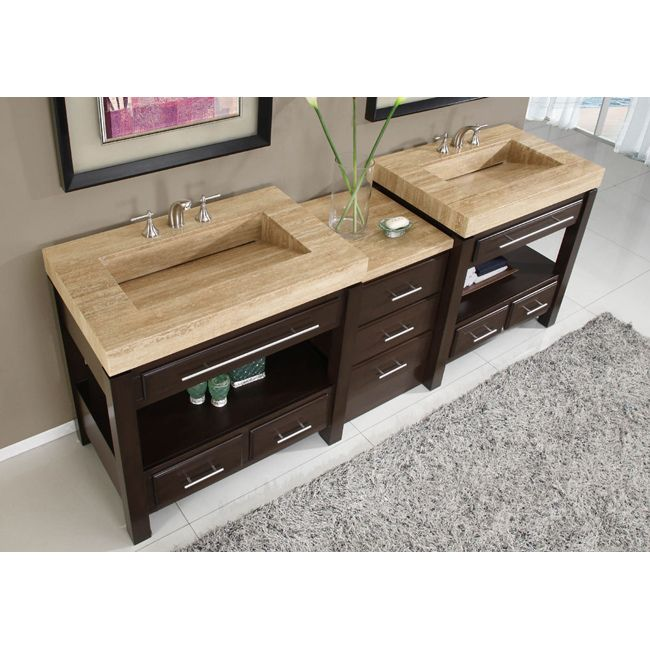Silkroad exclusive travertine countertop double stone sink bathroom vanity by silkroad exclusive - Double bathroom vanities granite tops ...
