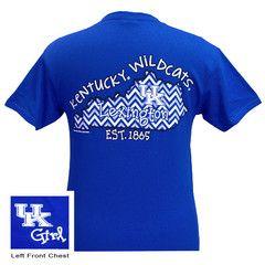 New UK Kentucky Wildcats Chevron State Girlie Bright T Shirt | SimplyCuteTees
