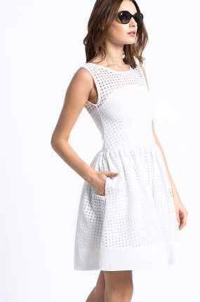 Sukienka - Hilfiger Denim - biała letnia rozszerzana Gathered