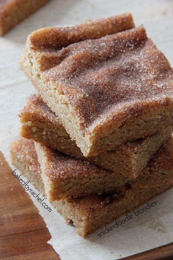 Snickerdoodle Blondie Bars...Chewy cinnamon blondie brownie bars with a cinnamon-sugar topping!!