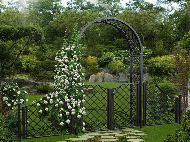 Metall Rosenbogen mit weißen Rosen Gartentüren