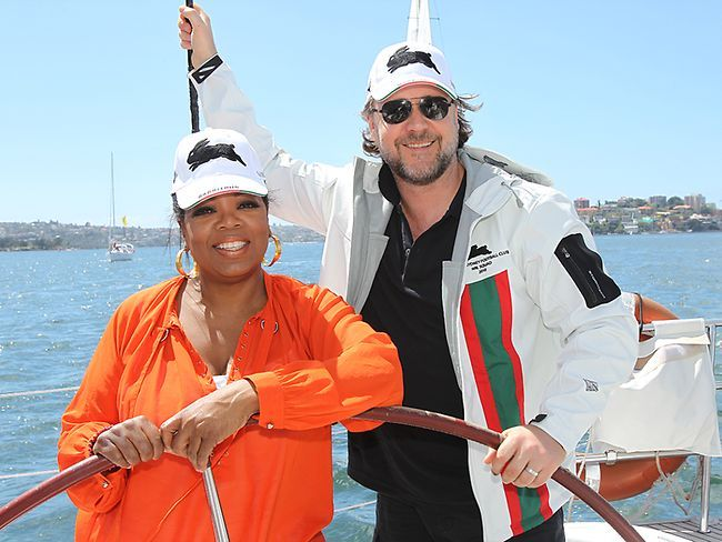 Russell Crowe and Oprah Winfrey during her trip to Australia. #SouthSydneyRabbitohs #famousfans