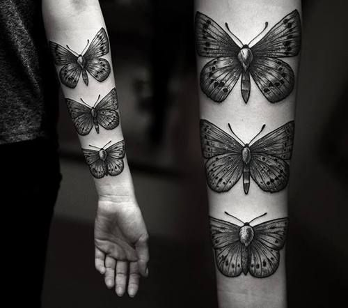 24 best butterfly tattoo no black images on pinterest butterfly tattoo designs butterflies - Tribal avant bras ...