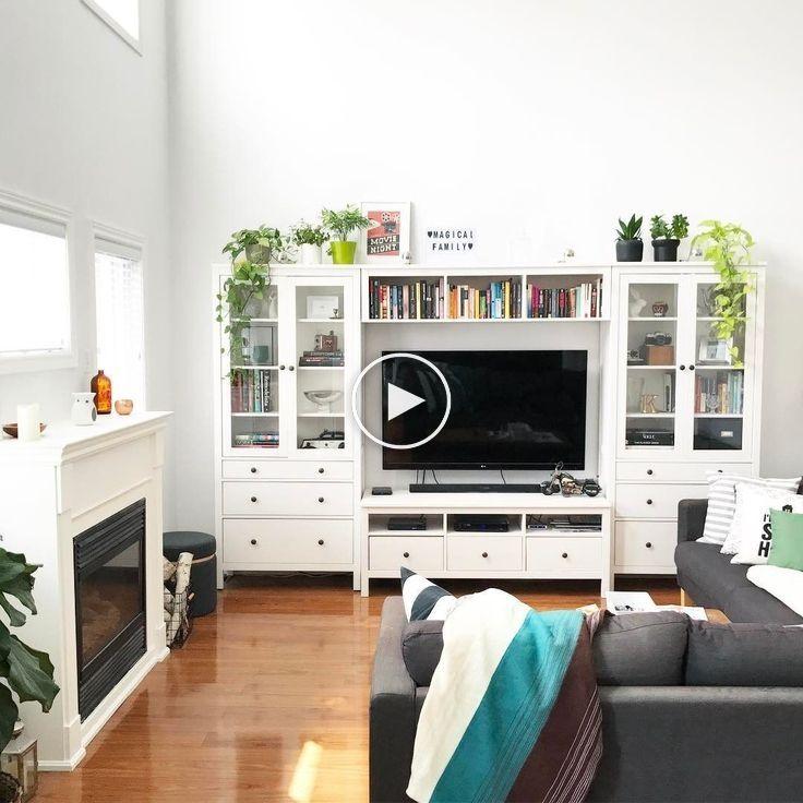 Meuble Ikea Hemnes Salon Blanc En 2020 Meuble Rangement Salon Idee Deco Salon Moderne Salon Blanc