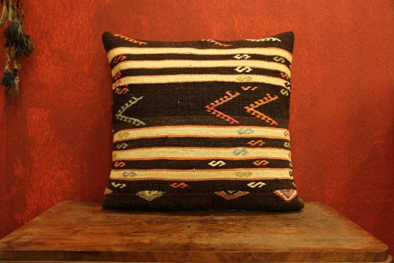 Handwoven Wool Vintage Turkish Kilim Pillow by kilimwarehouse