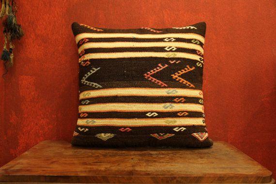 Handwoven Wool Vintage Turkish Kilim Pillow by kilimwarehouse
