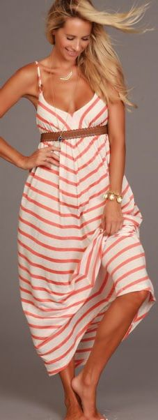 Lucy Love Bistro Maxi - Cape Cod Stripes -- Halter neck and tie-back closure. Faux leather braided detail around waist. A maxi you will want to wear over and over this summer!