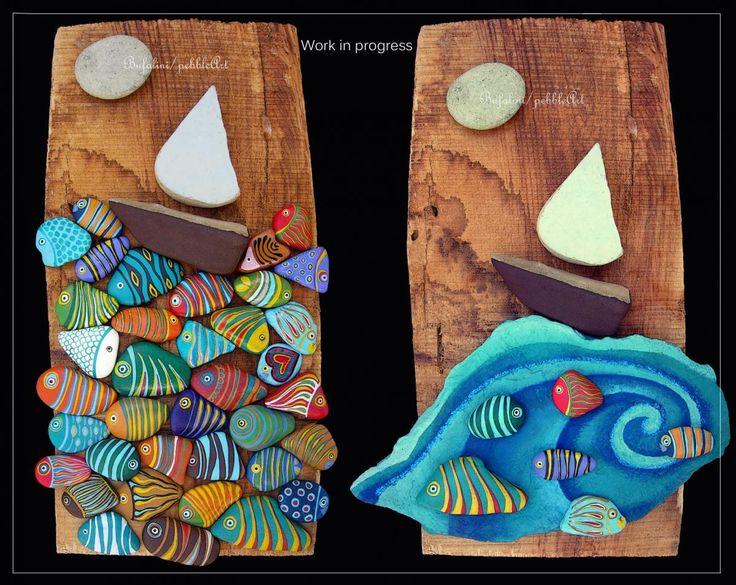 work in progress ... indecisa (al momento) su quale portare avanti dei due quadri il primo con il mare di pesci lo trovo più originale e bello, ma a...