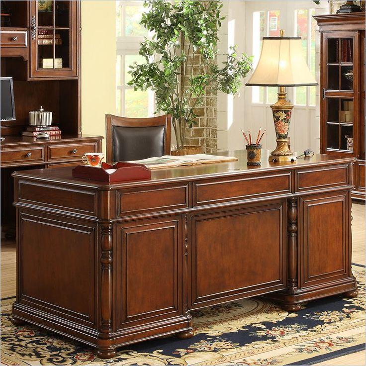 Riverside Furniture Bristol Court Executive Desk In Cognac Cherry 24530