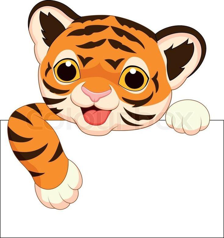 Cute Cartoon cheetah | ... vector of 'Vector illustration of Cute tiger cartoon with blank sign