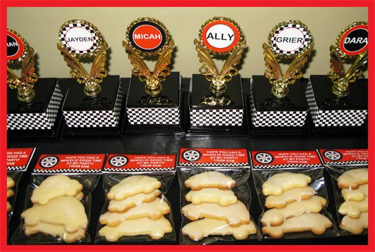 Race Car Birthday Party Cookie favors