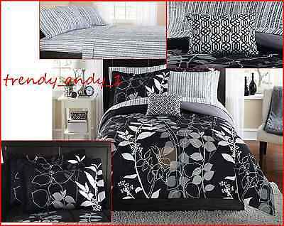 TWIN XL Bed in a Bag Bedding Set Comforter Pillowcase Sham Bedroom Home Black