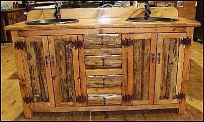 """MS1371-62D:  Rustic Bathroom Vanity - Double Sink 62"""" -  Bathroom Vanity  - Log Cabin  - Copper sinks"""