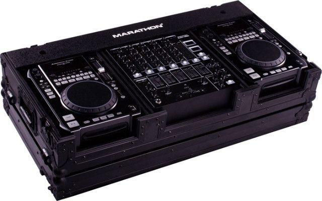 Black Series, holds 2 x MEDIUM Format CD Players: American Audio CDI-300, 500, Pioneer CDJ-400, CDJ-200 players plus 12-in mixer w/low profile wheels.