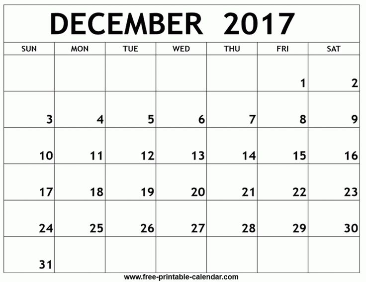 24 best December 2017 Calendar images on Pinterest December - blank calendar pdf
