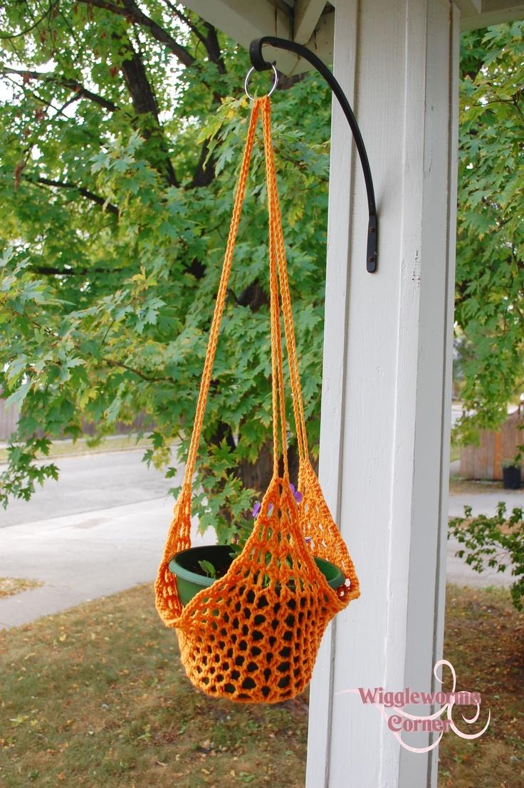 crocheted plant holder crochet flower pot cozy hanging. Black Bedroom Furniture Sets. Home Design Ideas