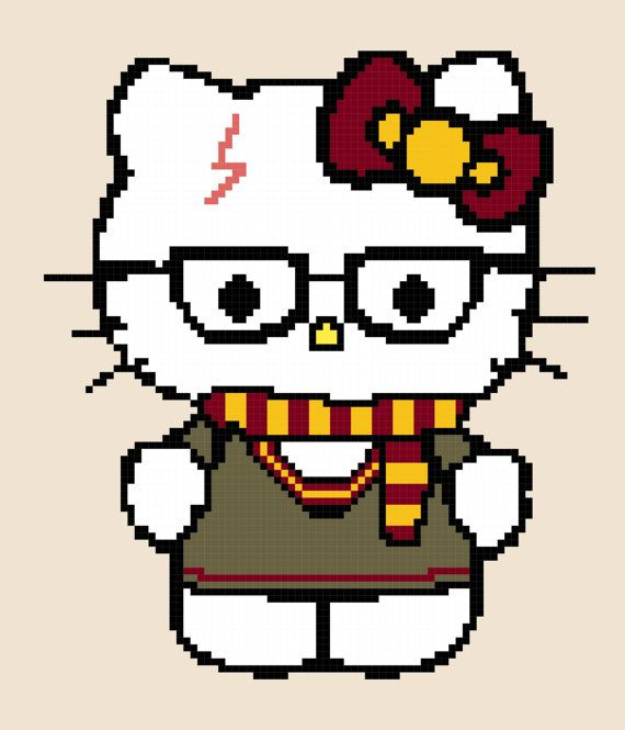 These cute little Hello Kitties are dressed as their favorite houses from Harry Potter! Harry Potter in Gryffindor, Slytherin, Ravenclaw, and