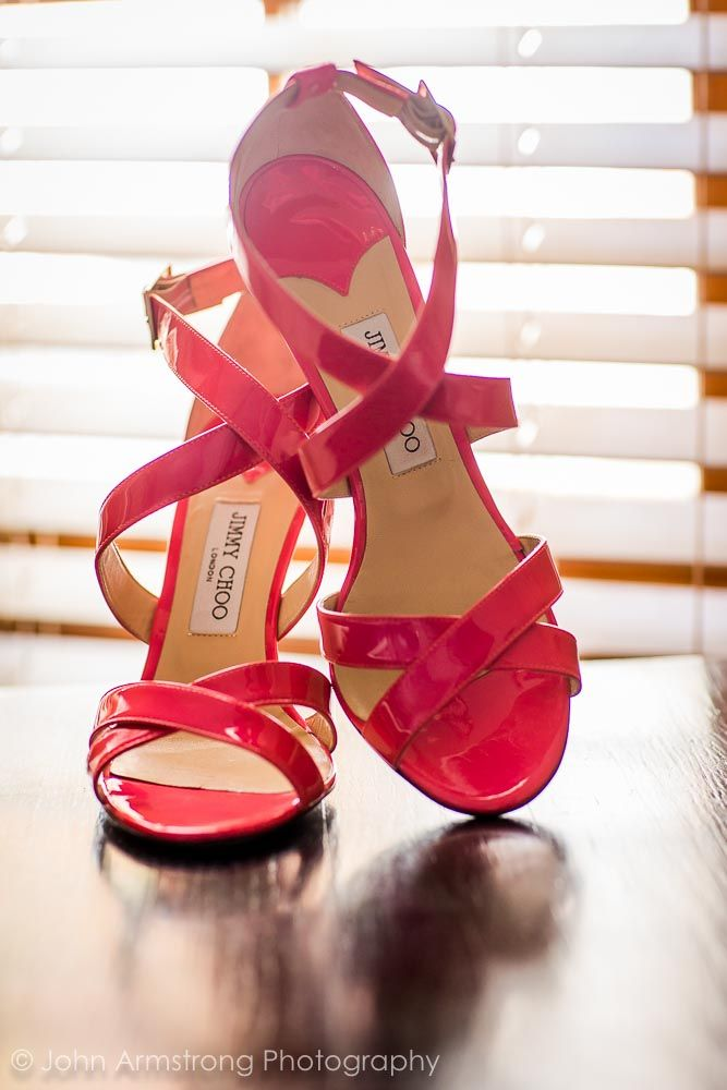 Jimmy Choo shoes. Bride's shoes. Cerise pink shoes. Image by John Armstrong