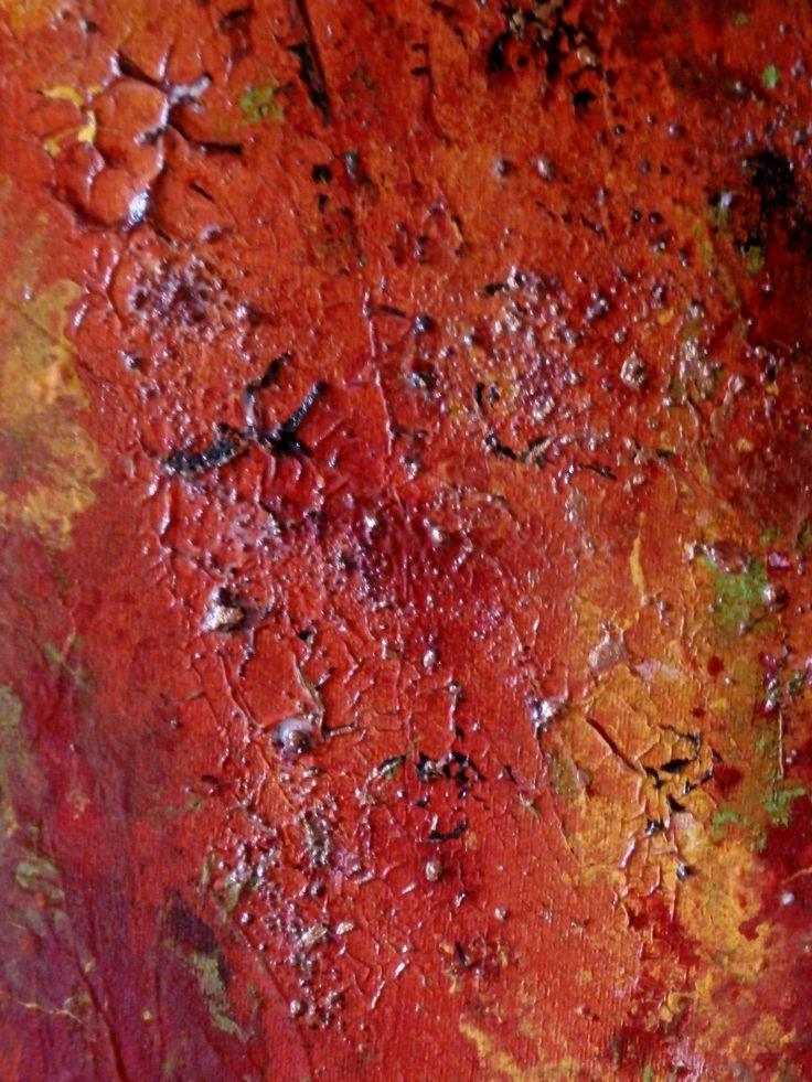 geinspireerd door Het Universum, acrylverf, met ander materiaal.
