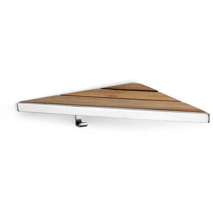 Lux Natura Wall Corner Shower Caddy Shelf Organizer, Teak Wood