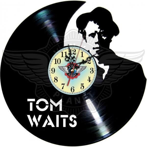 VINYL PLANET Wall Clock TOM WAITS Home Record Unique Decor upcycled 12''