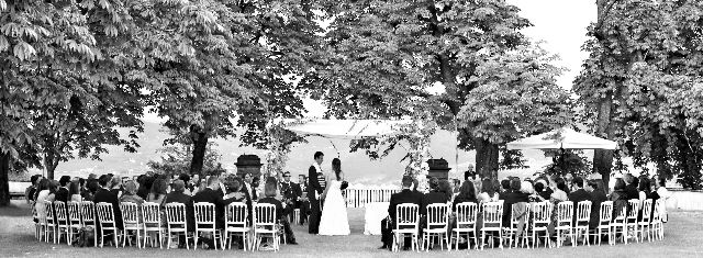 The ceremony in the garden with the huppah