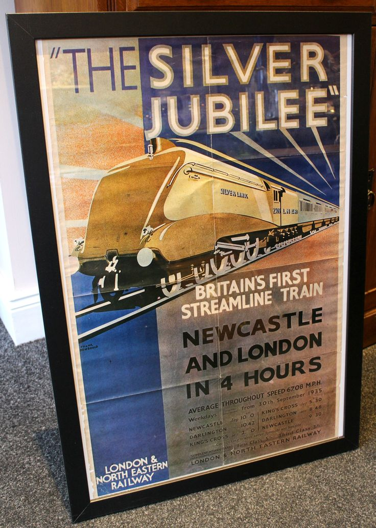 Original 1935 LNER Railway Poster by Frank Newbould for the Silver Jubilee which was Britain's first streamline train. Folds visible as expected with age. Framed size measures 22.5 inches by 32.5 inches. Visible poster measures 19 inches by 30 inches.